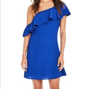 ASTR Marisol One Shoulder Ruffle Mini Dress Cobalt